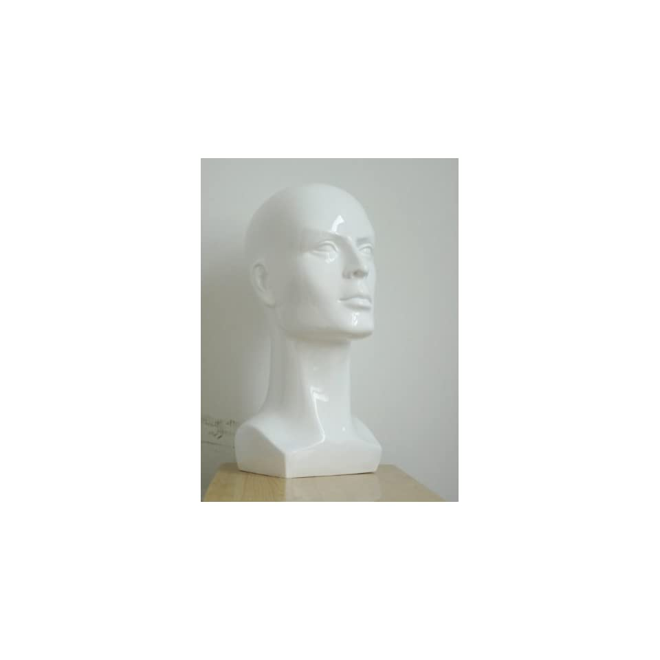 New Whinte Male Mannequin Head for Fashion Wig/hat/jewelry Shining Display 38cm