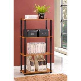 Furinno 4 Tier Rack Bookshelf Bookshelves Bookcase Cabinet Storage Display - Cherry Finish, 99557