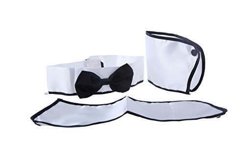Black and White French Maid Bow tie and Wrist Cuff Costume Party Role Play For Active Dress Up Role Play - Card Dealer Stripper - 5.80