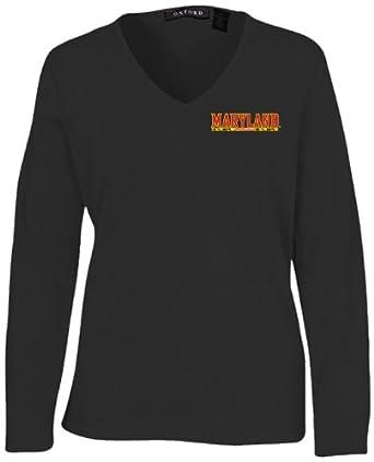 Oxford NCAA Maryland Terrapins Ladies Carson V-Neck Sweater, Black, Medium by Oxford