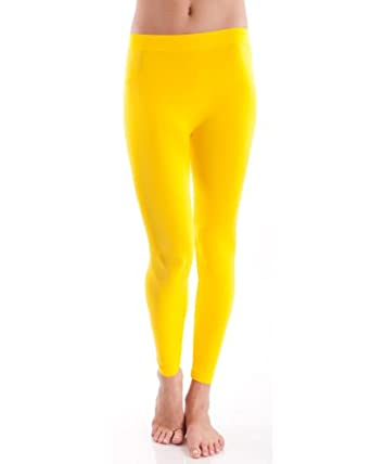 Clothes Effect Yellow Seamless Leggings Full Length