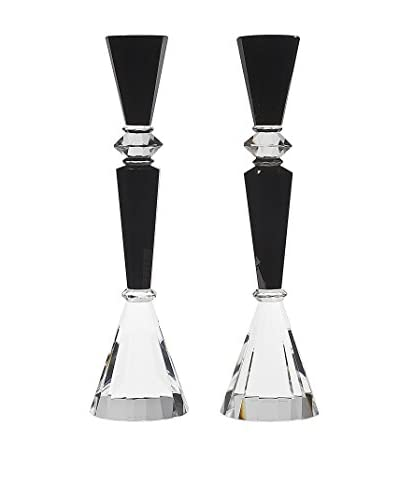 Godinger Set of 2 Essex Black Candlesticks