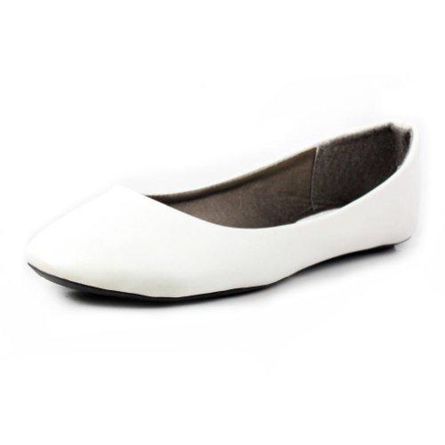 West Blvd Womens BALLET Flats Slip On Shoes Ballerina Slippers, White Pu, US 11