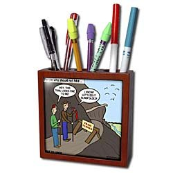 Rich Diesslins Funny Out to Lunch Cartoons - Some People Who Should Not Go Hiking - Tile Pen Holders-5 inch tile pen holder