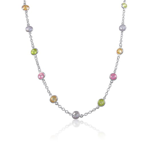Multi-Color 6mm Round CZ Stationed on Silver Cable Chain CZ-By-The-Yard Necklace