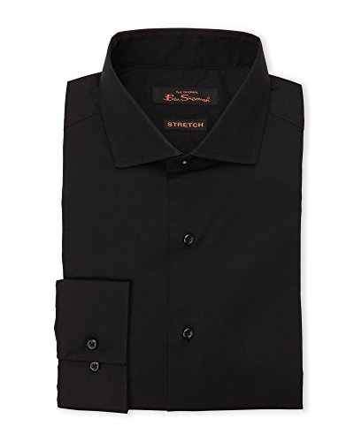 ben-sherman-mens-solid-stretch-shirt-kings-tailored-fit-155-32-33-black