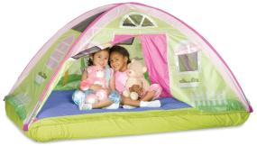 "The ""Cottage Bed"" Tent transforms your child's bed into their own private play space."