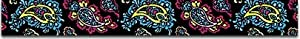 Paisley Dog Collar- 4 colors - Black Paisley XSmall 3/8in wide x 8in-12in long