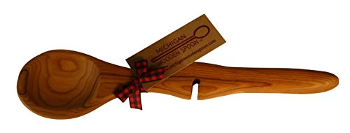 Michigan Wooden Spoon Cherry Wood Resting Spoon Rests on Side of Pan (Slot Spoon compare prices)