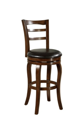 Furniture Of America Judson Padded Leatherette High Swivel Bar Stool, 29-Inch, Dark Oak Finish