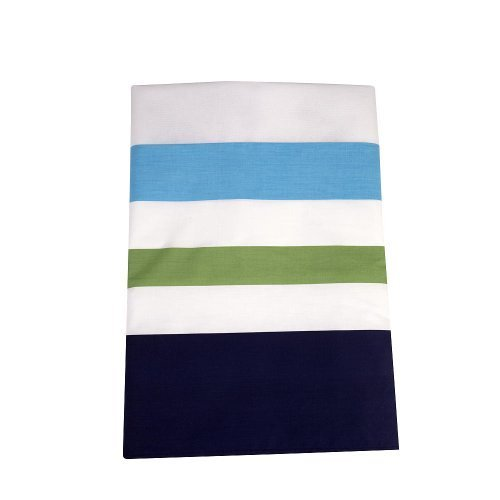 Happy Chic Baby by Jonathan Adler - Charlie Multi Stripe Blue Dust Ruffle #zNI - 1