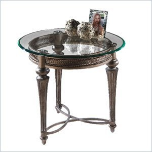 Cheap Magnussen 37504 Galloway Brushed Pewter Finish Wrought Iron Round End Table (37504X-KIT)