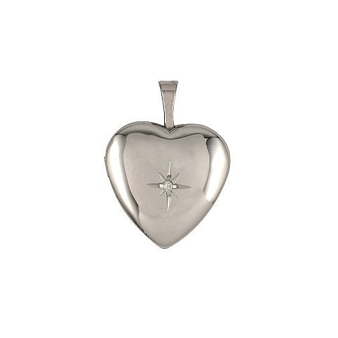 Heart Shape Single Diamond Star Design Sterling Silver Locket