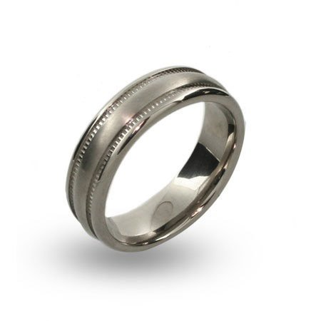 Mens Brushed Titanium Ring with Milgrain Pattern Size 11 (Sizes 10 11 12 Available)