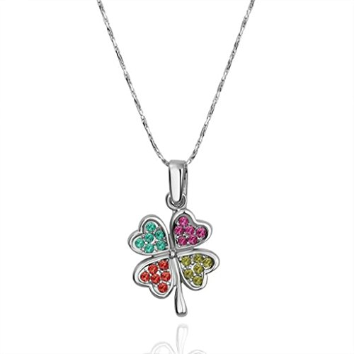 amdxd-jewelry-gold-plated-women-pendant-necklace-multicolor-silver-clover-shape-czgift-for-girls