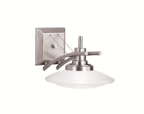 Kichler Lighting 6963Ni Structures 1-Light Halogen Wall Sconce, Brushed Nickel With Satin-Etched Glass