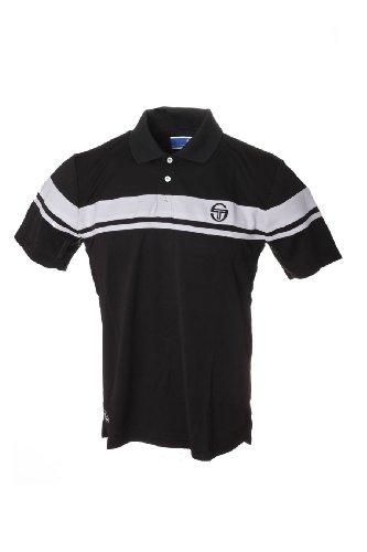 Sergio Tacchini Young Line Tech Polo TCP-Polo da uomo, colore: nero/bianco, taglia XL