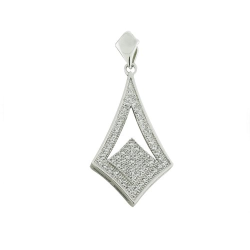 Ladies Sterling Silver Pendant with White CZ and Free Silver Chain