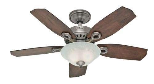 Hunter Fan Company Hunter 28697 Auberville 44-Inch Single Light 5-Blade Ceiling Fan, Antique Pewter with Rustic Lodge-Harvest Mahogany Blades an... at Sears.com