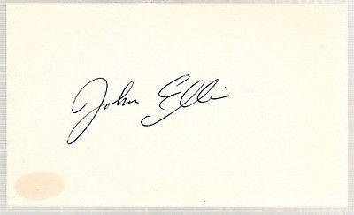 John Ellis Baseball John Ellis Signed 3x5 Index