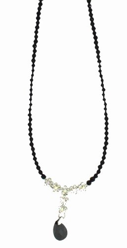 Black And Clear Crystal Drop Necklet 15.5'+2' extender.