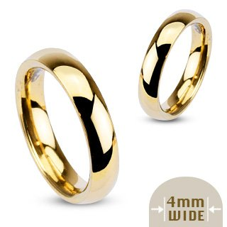 4MM Highly Polished 316L Stainless Steel Gold Ion Plated Comfort Fit Wedding Band Ring; Comes With FREE Gift Box (6.5)