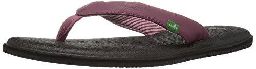 Sanuk Women's Yoga Chakra Flip Flop, Dusty Boysenberry, 9 M US