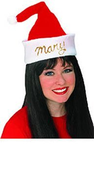 Personalized Santa Hat with Glitter Christmas Accessory - 1
