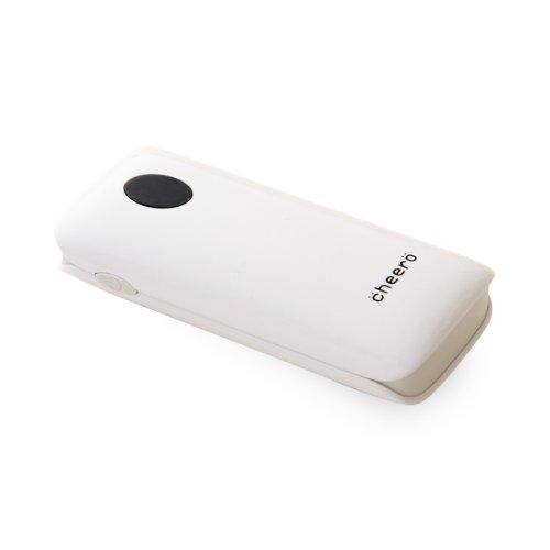 cheero Grip 5200mAh (ホワイト) 大容量モバイルバッテリー (2.1A,1A 2出力ポート/ ポーチ付/半年保証)