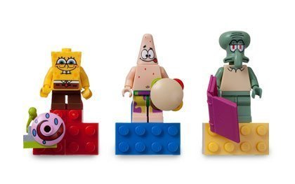 LEGO SpongeBob Magnets Set-SpongeBob, Patrick Star, Squidward - with 2 x 4 Brick Bases (RARE)