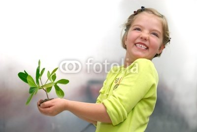 "Wallmonkeys Peel and Stick Wall Decals - Little Girl Holding Small Plant - 18""W x 12""H Removable Graphic"
