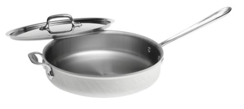 All-Clad 7403 MC2 Master Chef 2 Stainless Steel Tri-Ply Bonded Saute Pan with Lid Cookware, 3-Quart, Silver