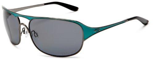 Oakley Women's Cover Story Oo4042 Black Chrome Frame/Grey Polarized Lens Metal Sunglasses