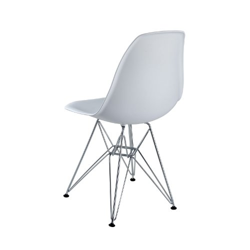 Lexmod plastic side chair in white with wire base for White plastic kitchen chairs