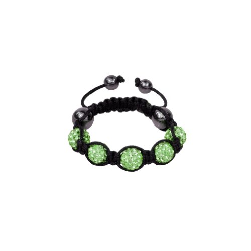 Zacoo Fashion Green Crystal Ball Bracelet for Children 5 Disco Balls Clay Sold Individually 10mm