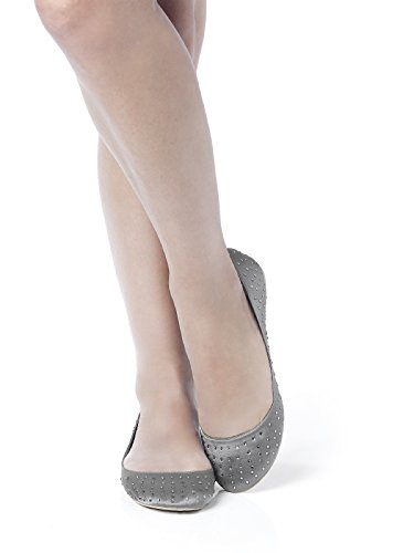 Women's Satin Rhinestone Ballet Flats by Dessy - Charcoal Gray - Size 11