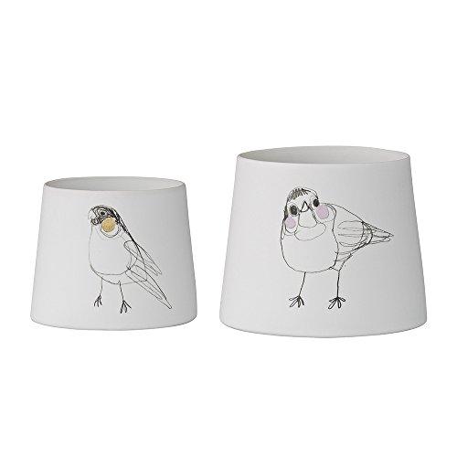 "Bloomingville Teelichtbecher ""Birds"" (Ø6,8x5,5cm / Ø8,3x6,7cm; 2er Set)"