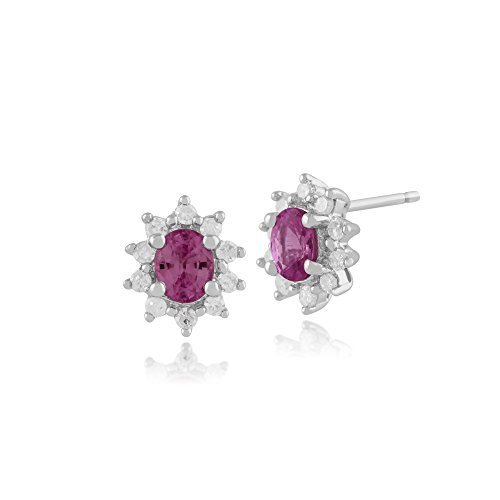 Gemondo Pink Sapphire Stud Earrings, 9ct White Gold Pink Sapphire & Diamond Oval Cluster Earrings