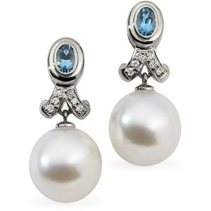 18k S. Sea Cult. Pearl Aqua Rough Diamond Earring .08ct 12mm Oval - JewelryWeb