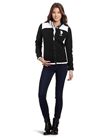 US Polo Assn. Juniors Polar Fleece Jacket With Sherpa Lining, Black/White, Large