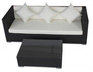 Polyrattan Sofaset 5060 Sofa 3-Sitzer mit Tisch schwarz, Tisch: ca. 95 x 65 x 30 cm, 3-Sitzer ca. 210 x 85 x 30 cm, Farbe Schwarz