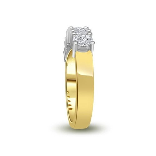 0.60 carat Diamond Half Eternity Ring for Women. G/SI1 Round Brilliant Diamonds in 4 Claw Setting in 18ct Yellow & White Gold