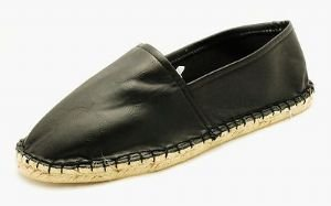 Mens Black faux leather flat espradrilles flat pumps NEW