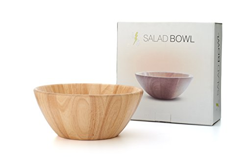 ! Large 14 inch Wooden Salad Bowl by LightningStore - Premium Grade Wood With Special Box Packaging - Ideal Serving Bowl for Fruit and Salad - Excellent For Personal Use or As a Gift (Wooden Bowl With Lid compare prices)