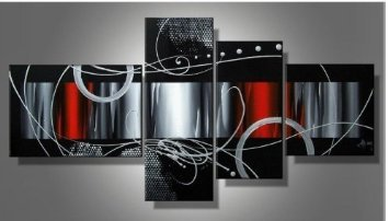 Santin Art - 100% Hand-painted Free Shipping Wood Framed Red Back Clouds Home Decoration Modern Abstract Oil Painting on Canvas 4pcs/set Mixorde