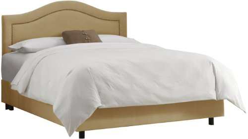 Skyline Furniture Inset Nail Button King Bed in Velvet Honey