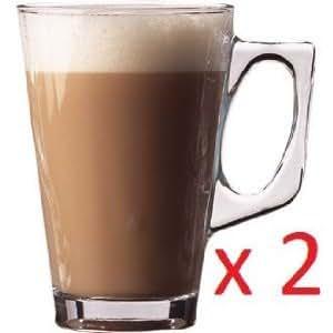 WINWARE - Tasses/ Mugs pour Café Latte - Convient pour café,chocolat chaud, thé, cappucinos et expresso. Tasses en verre élégantes et robustes, idéal pour restaurant ou café.