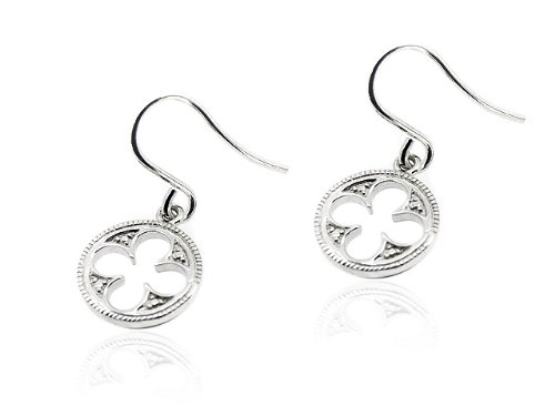 V&A Inspired! Argentium Silver Gothic Quatrefoil Earrings (Plain Silver)