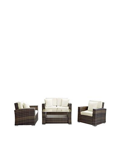 Modway Carmel 4-Piece Outdoor Patio Sofa Set, Brown/White