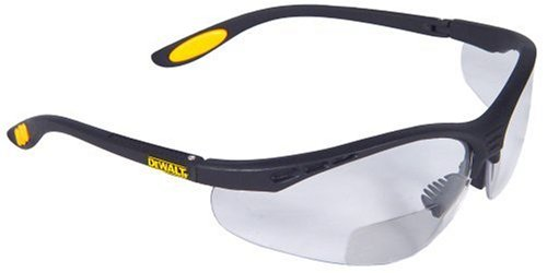 Dewalt DPG59-110C Reinforcer Rx-Bifocal 1.0 Clear Lens High Performance Protective Safety Glasses with Rubber Temples and Protective Eyeglass Sleeve